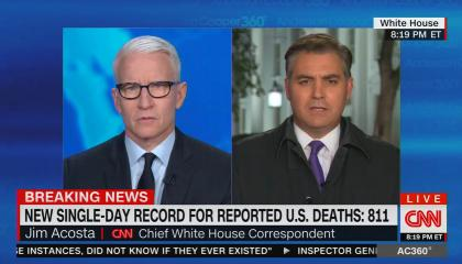 """Anderson Cooper and Jim Acosta sharing a screen, chyron reads: """"New single-day record for reported US deaths: 811"""""""