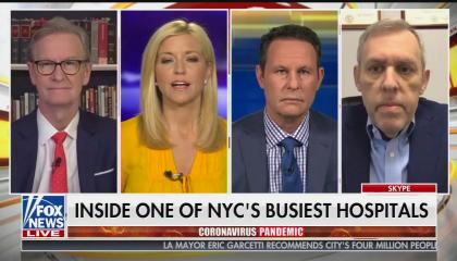 "The Fox & Friends host and a guest above a chyron reading ""Inside one of NYC's busiest hospitals"""
