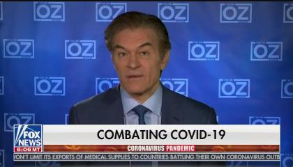 "TV host and heart surgeon Dr. Mehmet Oz speaking above a chyron reading ""Combating COVID-19)"