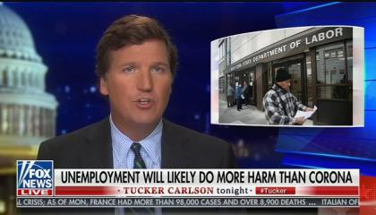 Tucker Carlson argues for ending social-distancing, says the country will regret taking drastic measures to fight coronavirus spread