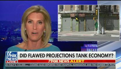 "Laura Ingraham hosts her show with photo of closed store front and chyron reading: ""Did flawed projections tank economy?"""