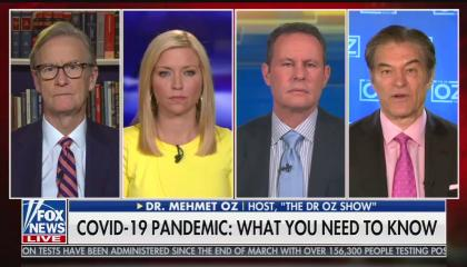 "The Fox & Friends hosts and Dr. Mehmet Oz in 4 separate screens, with a chyron reading ""COVID-19 pandemic: What you need to know"""