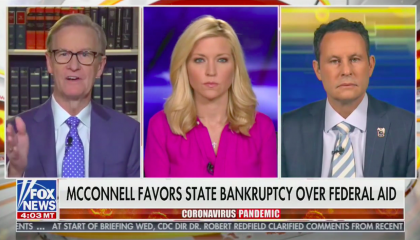 "Steve Doocy, Ainsley Earhardt, and Brian Kilmeade above a chyron reading ""McConnell favors state bankruptcy over federal aid"""
