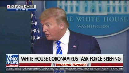 "A screenshot of President Trump suggesting disinfectant injections to fight coronavirus. Chyron reads ""White House coronavirus task force briefing."""