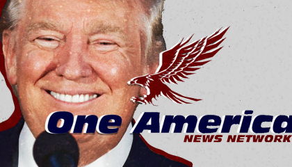 An image of President Donald Trump with the logo for One America News Network superimposed over his face.