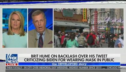 "Fox's Brit Hume defends Donald Trump's refusal to wear a mask because ""he doesn't want to look funny"""