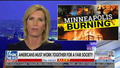 """Laura Ingraham hosts, chyron reads: """"Americans must work together for a fair society"""""""