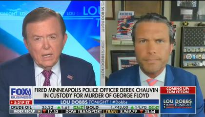 "chyron reads: ""Fired Minneapolis police officer Derek Chauvin in custody for murder of George Floyd"""