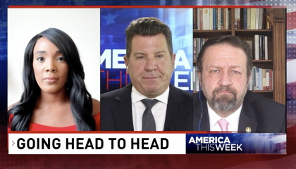 Split screen showing Eric Bolling, Ameshia Cross, and Sebastian Gorka in a panel discussion