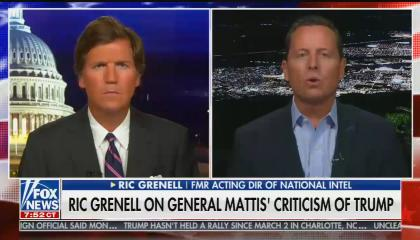 "chyron reads: ""Ric Grenell's first TV interview since leaving the Trump administration"""
