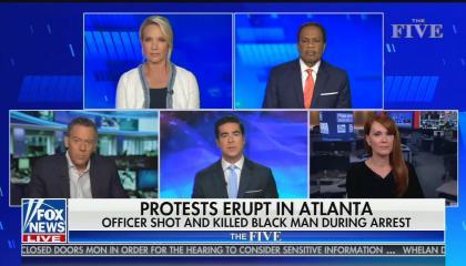 """chyron reads: """"Protests erupt in Atlanta officer shot and killed Black man during arrest"""""""