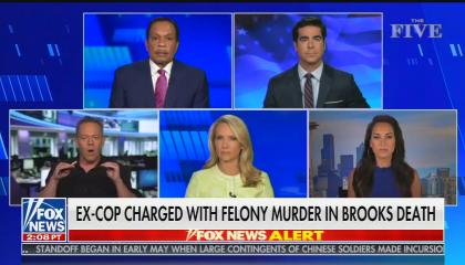 """chyron reads: """"Ex-cop charged with felony murder in Brooks death"""""""