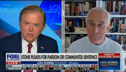 "chyron reads: ""Stone pleads for pardon or commuted sentence"""