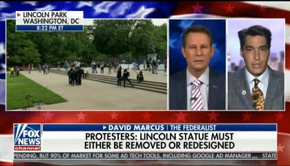 "chyron reads: ""Protesters: Lincoln statue must either be removed or redesigned"""