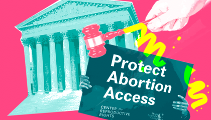 "Image of the Supreme Court and a ""Protect Abortion Access"" sign"