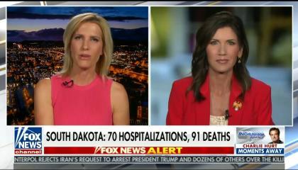 "Chyron reads: ""South Dakota: 70 hospitalizations, 91 deaths"""