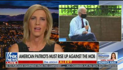 """chyron reads: """"American patriots must rise up against the mob"""""""