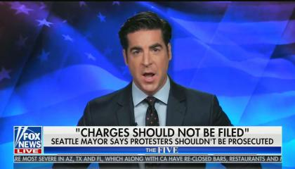 "chyron reads: ""Charges should not be filed, Seattle mayor says protesters shouldn't be prosecuted"""