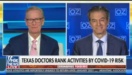 """Dr. Oz & Steve Doocy discussing """"Texas doctors rank activities by COVID-19 risk"""""""