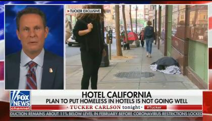 "chyron reads: ""Hotel California plan to put homeless in hotels is not going well"""