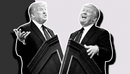 Two versions of Donald Trump