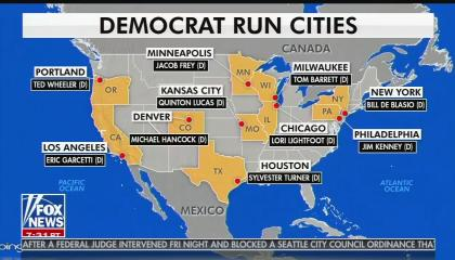 """A Fox News graphic showing a U.S. map with """"Democrat Run Cities"""" highlighted with their mayors. Map is provided via Bing."""