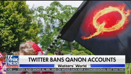 "An image of a protester carrying a QAnon flag with the chyron ""Twitter bans QAnon accounts"""