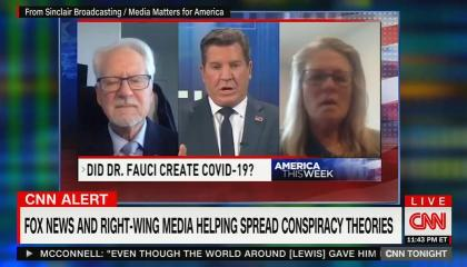 Sinclair on-screen graphic pushing conspiracy theory about Dr. Fauci