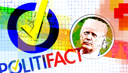 Trump and the PolitiFact logo