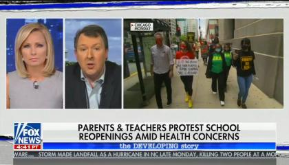 "chyron reads: ""Parents & teachers protest school reopenings amid health concerns"""