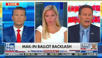 "Fox & Friends guest host Pete Hegseth with regular hosts Ainsley Earhardt and Brian Kilmeade (speaking), above a chyron reading ""mail-in ballot backlash"""