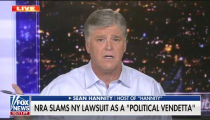 "Fox host Sean Hannity speaking above a chyron reading ""NRA slams NY lawsuit as a 'political vendetta'"""
