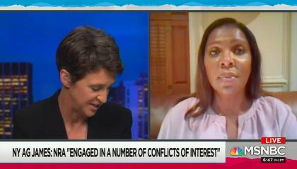 "chyron reads: ""NY AG James: NRA ""engaged in a number of conflicts of interest"""