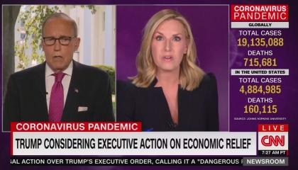 "White House economic adviser Larry Kudlow and CNN anchor Poppy Harlow discussing ""Trump considering executive action on coronavirus relief,"" with live-updating COVID cases and fatalities on the right"