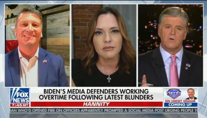 "chyron reads: ""Biden's media defenders working overtime following latest blunders"""