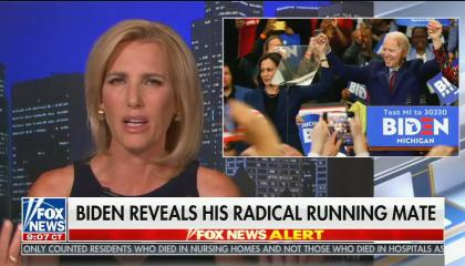 Laura Ingraham says Joe Biden prioritizing women of color for running mate was a racist violation of moral obligations