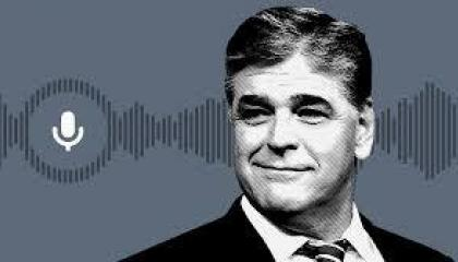 grey colorized photo of Sean Hannity from the shoulders up with microphone and sound waves in the background