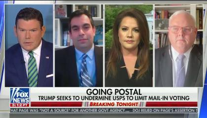 """chyron reads, """"GOING POSTAL"""" on first line. """"TRUMP SEEKS TO UNDERMINE USPS TO LIMIT MAIL-IN VOTING"""" on second line."""