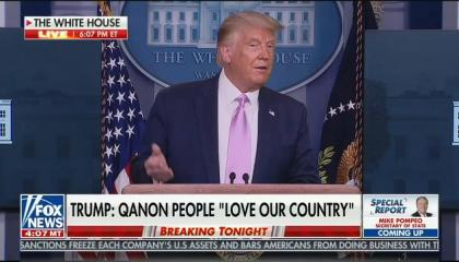 President Donald Trump praises QAnon conspiracy theorists for supporting him