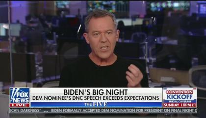 "chyron reads, ""BIDEN'S BIG NIGHT"" on first line, ""DEM NOMINEE'S DNC SPEECH EXCEEDS EXPECTATIONS"""