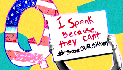 """A large letter Q colored in with the American flag, next to a protest sign reading """"I speak because they can't #saveourchildren,"""" references to the QAnon conspiracy theory."""