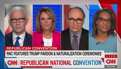 "chyron reads, ""REPUBLICAN CONVENTION"" above ""RNC FEATURES TRUMP PARDON AND NATURALIZATION CEREMONIES"""