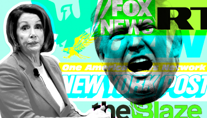 Nancy Pelosi, Donald Trump, and logos for conservative media companies