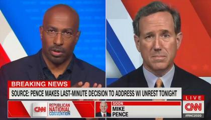 Van Jones and Rick Santorum in separate boxes, chyron suggests Pence to address national arrest in RNC speech
