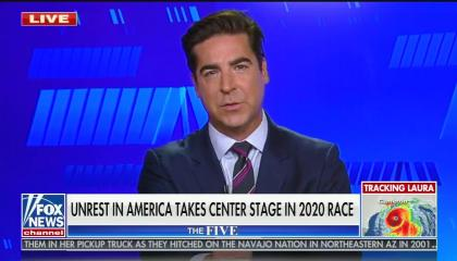 "chyron reads, ""UNREST IN AMERICA TAKES CENTER STAGE IN 2020 RACE"""