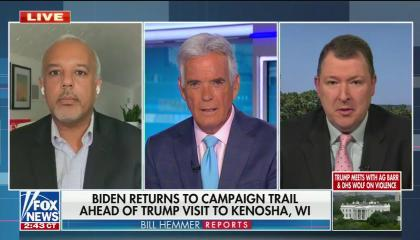 "chyron reads, ""BIDEN RETURNS TO CAMPAIGN TRAIL AHEAD OF TRUMP VISIT TO KENOSHA, WI"""