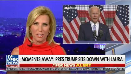 Laura Ingraham addressing audience in red dress, in smaller box on top left screen Joe Biden giving speech