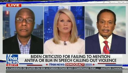 """shared screen between Martha MacCallum, Juan Williams, and Deroy Murdock, chryon reads """"Biden criticized for failing to mention antifa or BLM in speech calling out violence"""""""