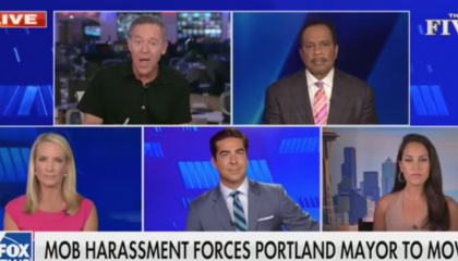 "chyron reads, ""MOB HARASSMENT FORCES PORTLAND MAYOR TO MOVE"""