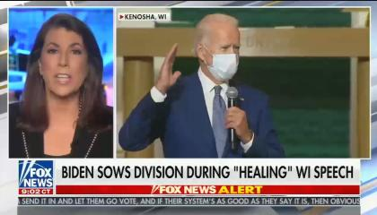 "Tammy Bruce on left side of screen in black jacket, Biden in larger box wearing a mask in a church, chyron reads ""Biden sows division during healing WI speech"""